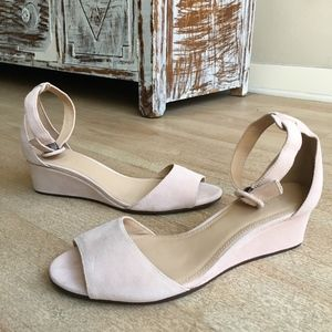 J Crew Laila Wedges In Pale Pink Blush Suede 8